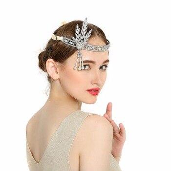 Fashion Great Gatsby Charleston 1920s Vintage Pearls Headpiece Headband Pearl Crown Wedding Bridal tiaras jewelry headpiece