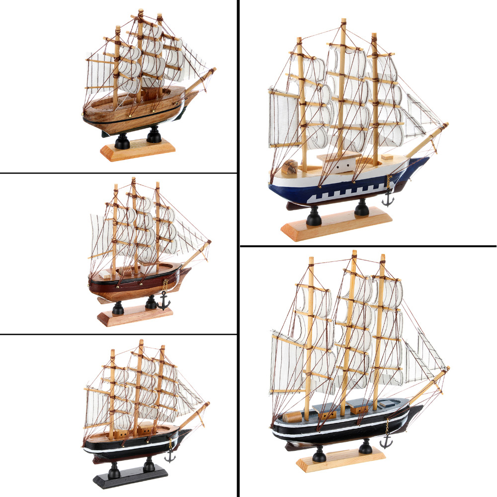 Wooden ship model miniatur marine wood boat wooden sailing for Ship decor home