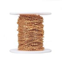 Pandahall 304 Stainless Steel Cable Chains with Spool For Jewelry Making DIY Findings Golden 2.5x2x0.5mm; about 20m/roll