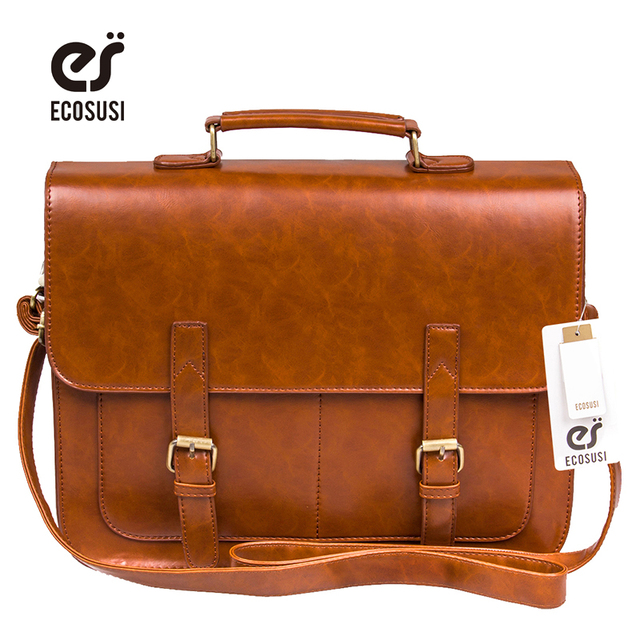 Ecosusi Vintage Men Messenger Bags Brand  Satchel men's briefcases office men crossbody bags