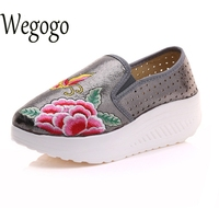 Women Shoes Flats Shiny Leather Breathable Old BeiJing Embroidered Platform Woman Butterfly Floral Travel Shoes Zapatos