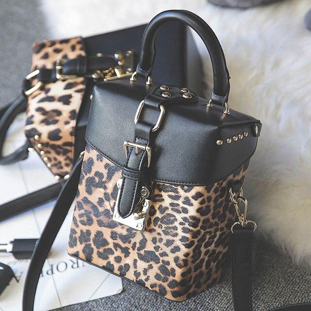 4509a3fa204d Личность Модные Винтажные Леопард коробка форма сумки заклепки сумка женская  Повседневная сумки crossbody сумка