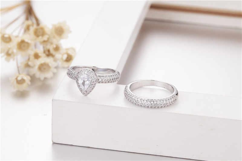 เครื่องประดับ 925 แหวนเงิน 2 - in - 1 Luxury Drop - ตัด 2ct sona เพชร Pave การตั้งค่า CZ งานแต่งงานแหวนสตรีขนาด 5-10