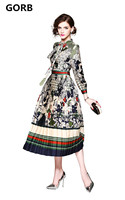 Dropshipping 2018 Newest Spring Autumn Vintage Print Women Hem Long Dress Stand Collar High Quality Long
