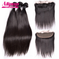 Ear to Ear Lace Frontal Closure With Bundles 4pcs/lot Peruvian Virgin Hair Straight With Closure 13x4 Lace Frontal With Bundles