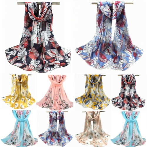 Fashion Womens Chiffon Floral Feather Scarf Ladies Soft Wrap Long Shawl Female Summer Beach Cover Up Woman Scarves