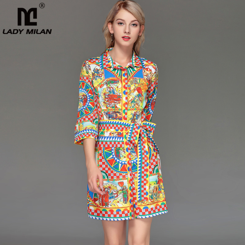 New Arrival Women s Turn Down Collar 3 4 Sleeves Vintage Printed Sash Belt Elegant Casual