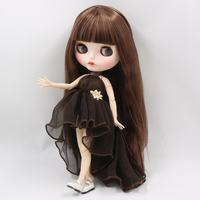 ICY factory blyth doll white skin joint body New matte face soft brown straight hair DIY sd gift toy