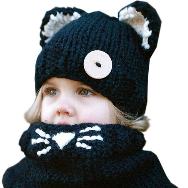Chaude Mode Enfant Hiver Noir À Tricoter Laine Chat Doux Chapeaux Chauds  Pour Bébé Filles Châle a4748046983