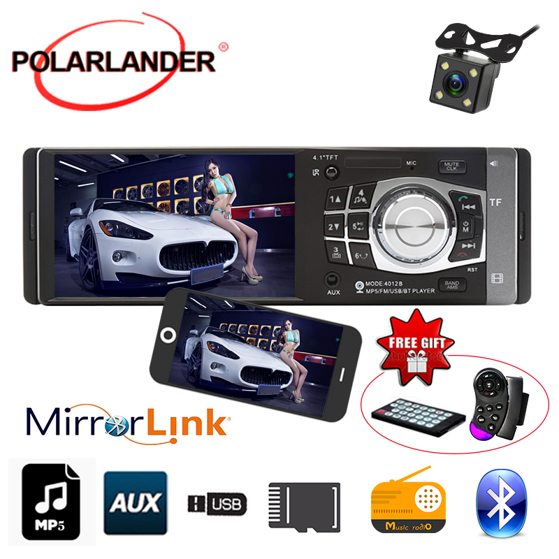 1 DIN 4.1 Inch HD TFT Screen 12V Car Radio Stereo Bluetooth radio cassette player SD/USB MP4/MP5 Player Mirror Link Autoradio image