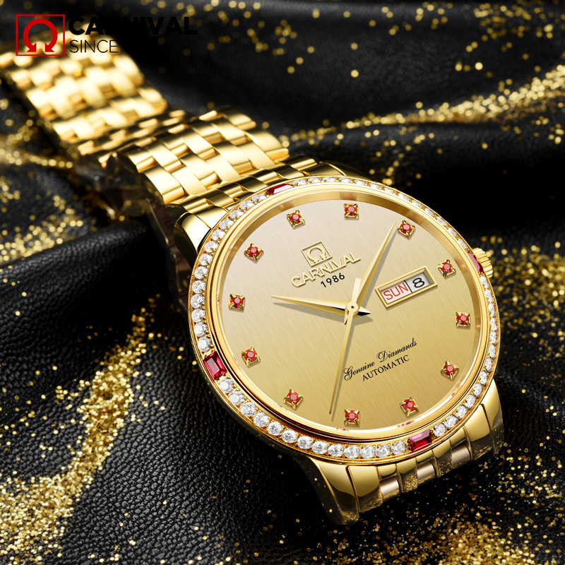 2017 CARNIAVL Crystal Inlaid Gold Men Watche TopBraand Luxury Fashion Classic Waterproof Automatic Mechanical relogio masculin china watche