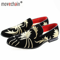 movechain Men's Fashion Suede Leather Embroidery Loafers Mens Casual Printed Moccasins Shoes Man Party Driving Flats Sizes 38 47