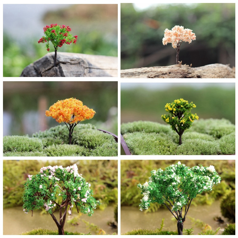 Buy new 7 designs artificial trees with flower miniatures plants fairy garden - Garden decor stores ...