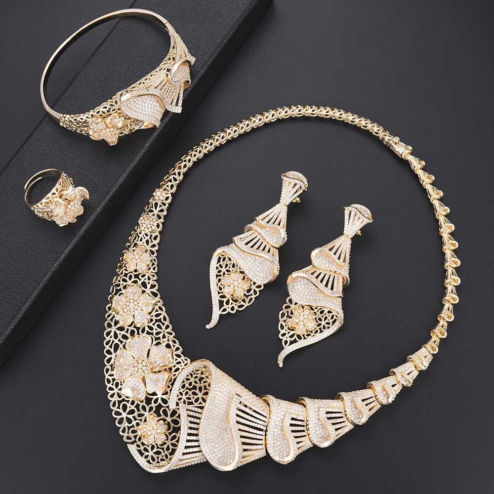 4pcs Women Wedding Sets Necklace Earrings Bracelet Ring Full AAA Cubic Zirconia Jewelry Findings dubai gold jewelry sets more