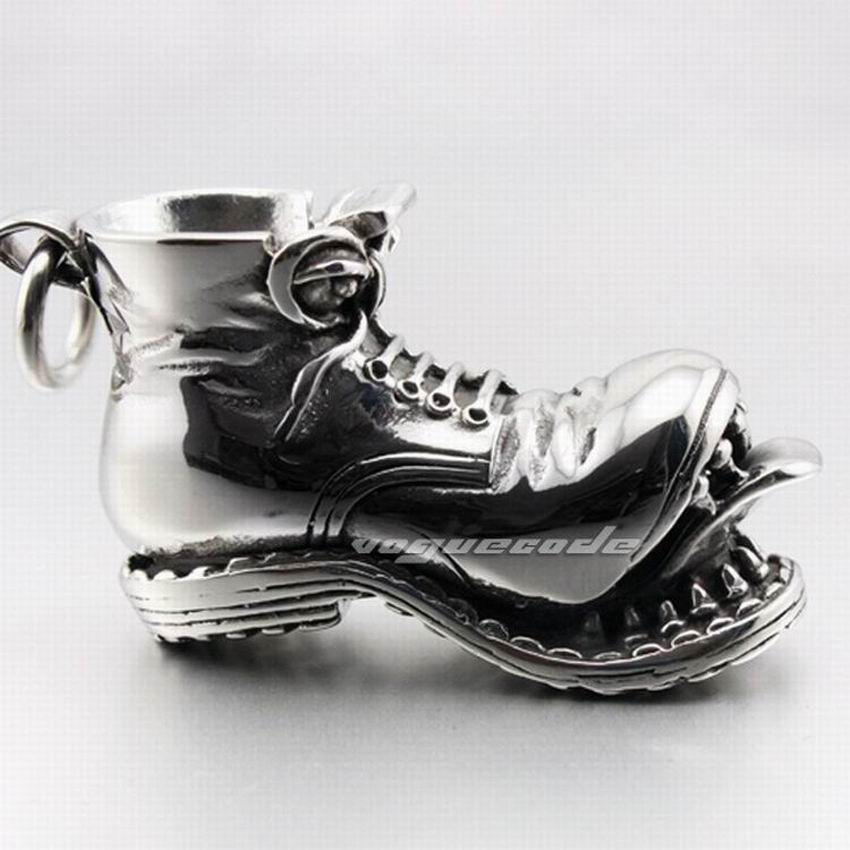 Image 4 - 316L Stainless Steel Boot Skull Pendant Mens Biker Rock Punk Style 4S026 Stainless Steel Necklace 24 inchesstainless steel skull pendantbiker pendantbiker necklace -