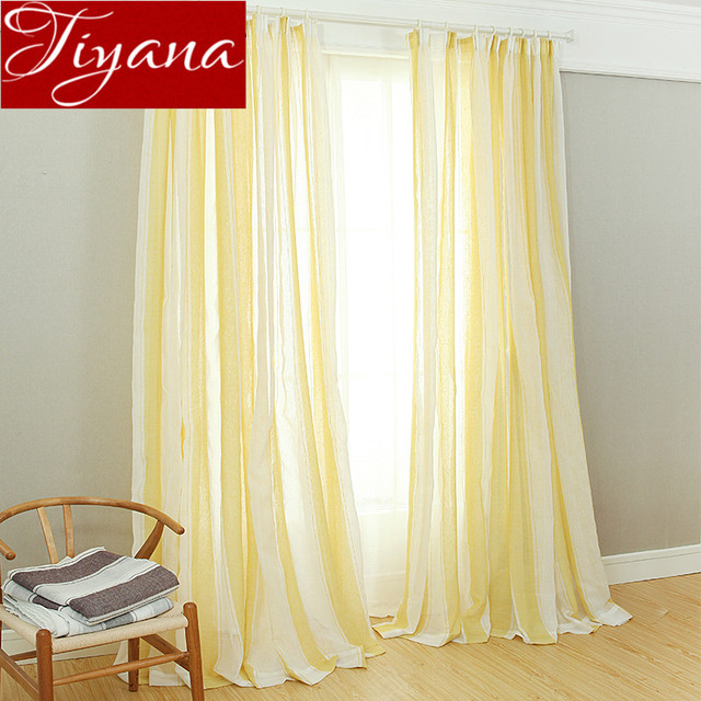Fringe Curtains Yellow Window Modern Living Room Bedroom Gray Tulle Linen Kitchen Sheer Fabrics Cortinas