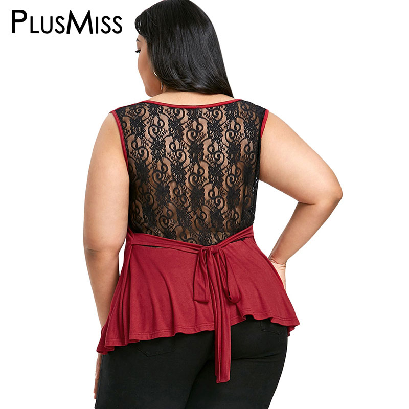 PlusMiss Plus Size 5XL Sexy Back Lace Sheer Tank Top Women Clothing Big Size Summer 2018 Elegant High Low Sleeveless Vest Ladies