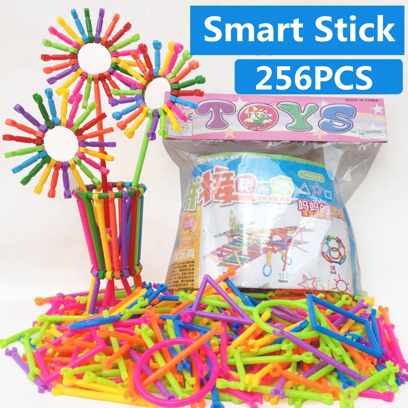 256pcs Baby Plastic Baby Intelligence Smart Bricks Sticks Building Blocks Kits DIY Montessori Educational Early Learning Toys