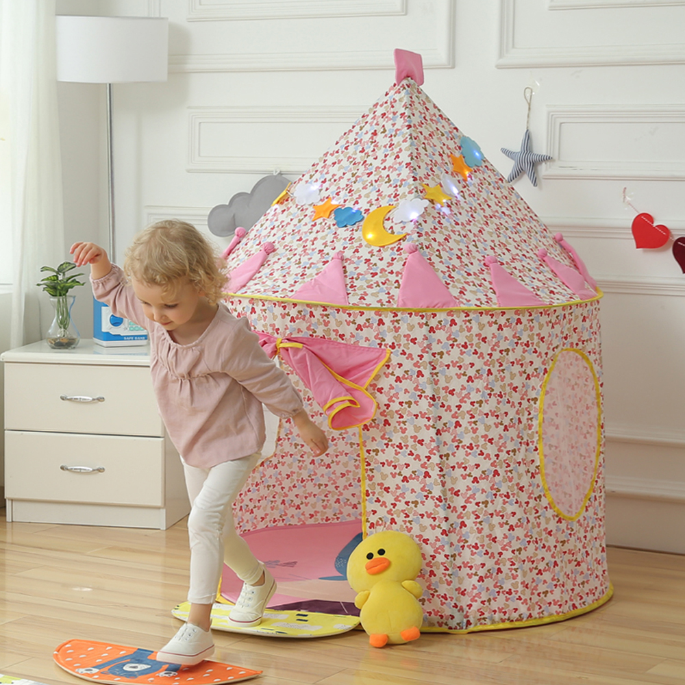 Children Play Tent - Princess Fairy Cute Castle Kids Foldable Pop Up Playhouse Best Indoor Outdoor Girls Toddler House Toy Pink