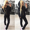 2017 Women Spring Autumn Zipper Sweatshirt 2 Piece Sets Fashion Clothing Zipper spot Suits Ladies 3 colors Hooded suit