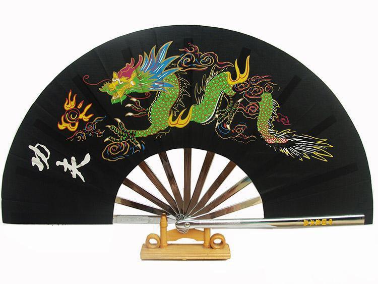 Premium Dragon Pattern Stainless Steel Martial Arts Fan