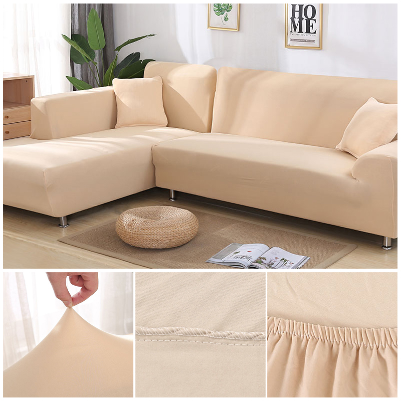 L shaped Solid Sofa Cover with Elastic for Sectional and Corner Sofa with Deep Gap Suitable in Living Room and Office 16