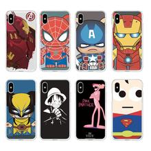 Superman Spiderman dos desenhos animados Pink Leopard Macio TPU Claro Caso de Telefone Para o iphone 6 6 S Plus 7 7 Plus 8 mais iPhone X 5S 4S C065(China)