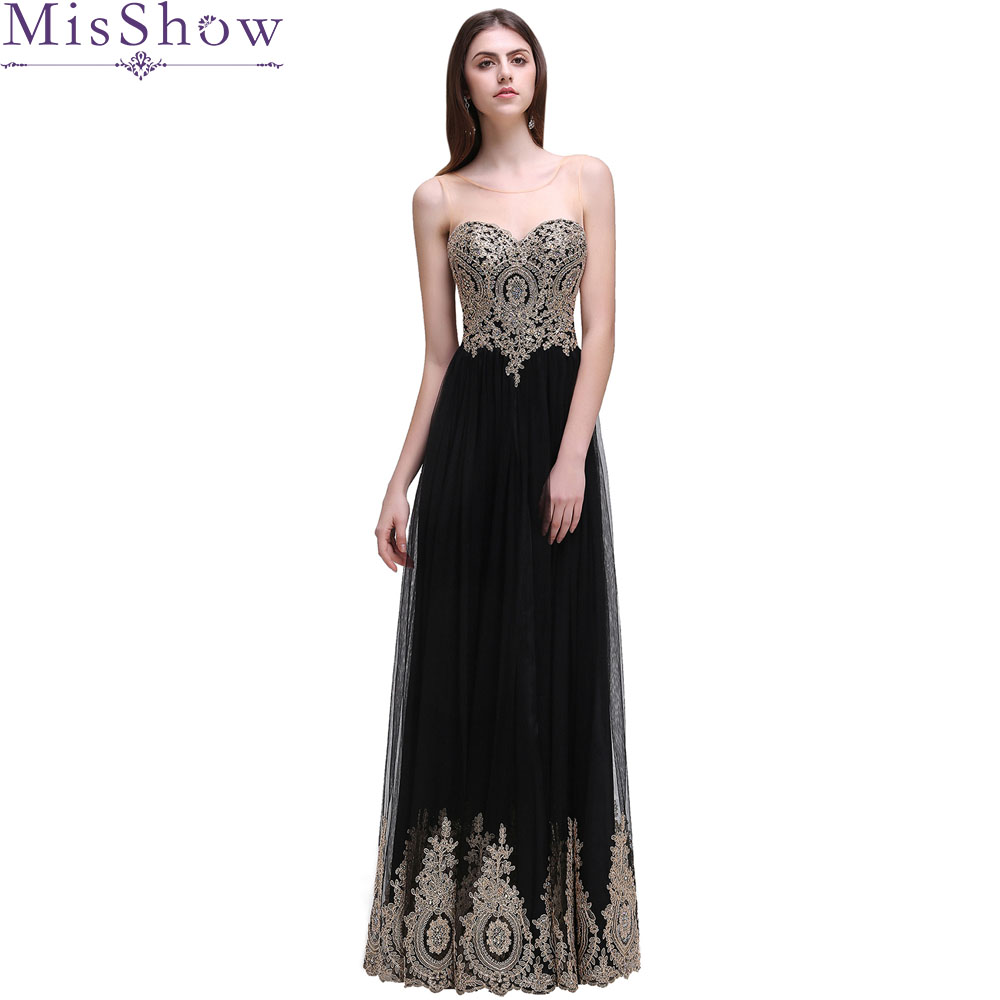 In Stock Real Photo black Long   Evening     Dresses   2019 Sheer Back Gold Applique   Evening   Gown Formal   Dress   Prom robe de soiree