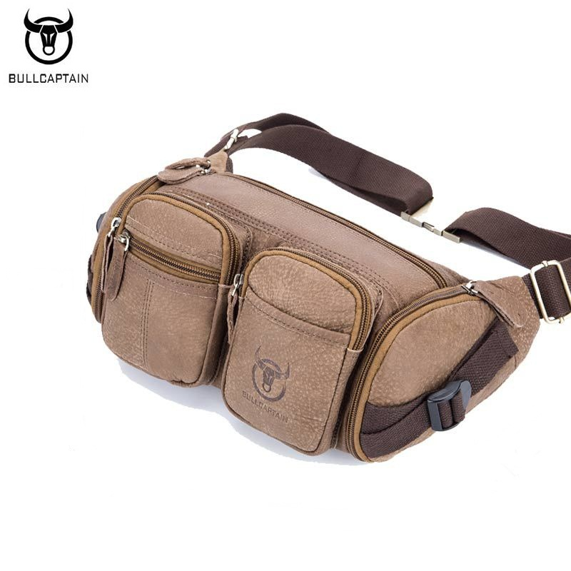 BULLCAPTAIN High Quality Men Ride Waist Bag Genuine Leather Fanny Pack For Cashier Waist Packs Leisure Men Travel Bags Brown