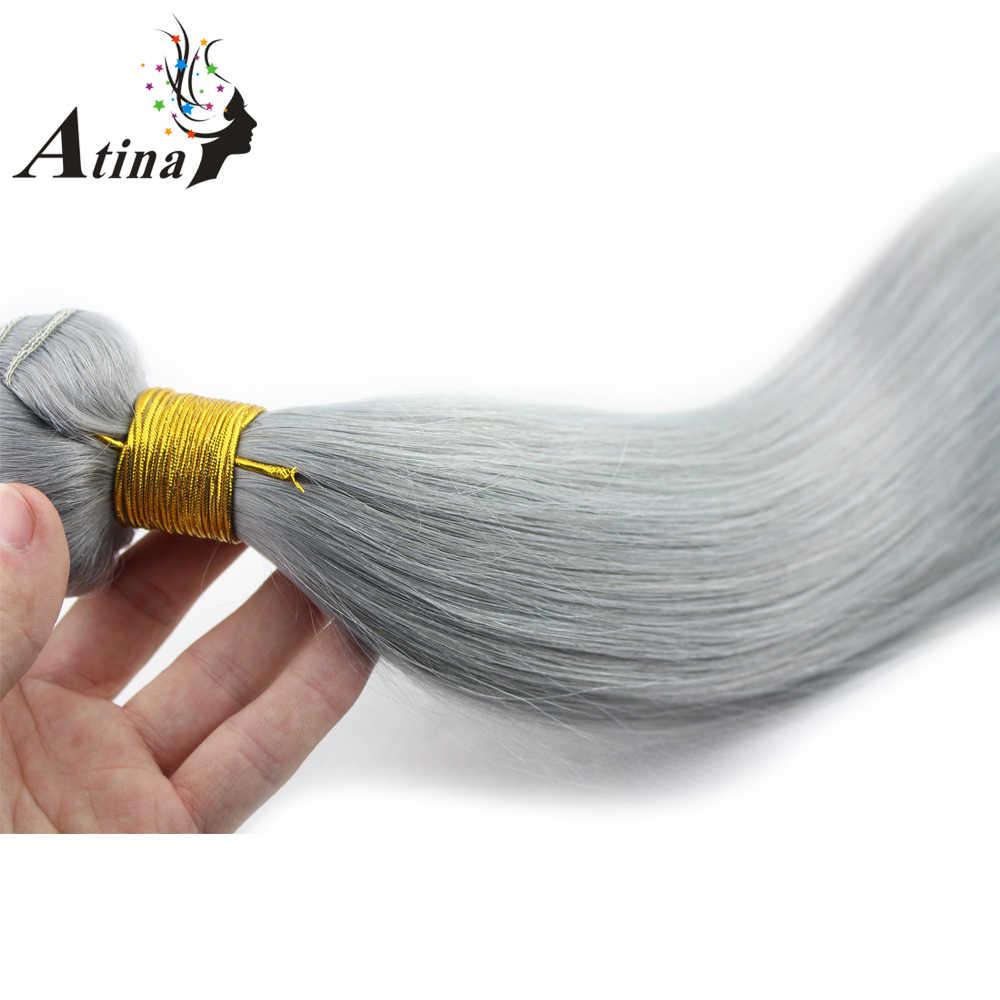 Braziliaanse Straight Menselijk Haar Weave Pure Grijze Kleur 3 Bundels Atina Silver Grey 100% Remy Menselijk Haar Weven Extensions