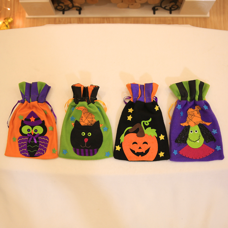 Cute Halloween Gifts Bags Candy Bag Witch Pumpkin Handbag Owl Cat Drawstring Bag For Halloween Party Decoration Kids Cookie Bags In Stockings Gift Holders