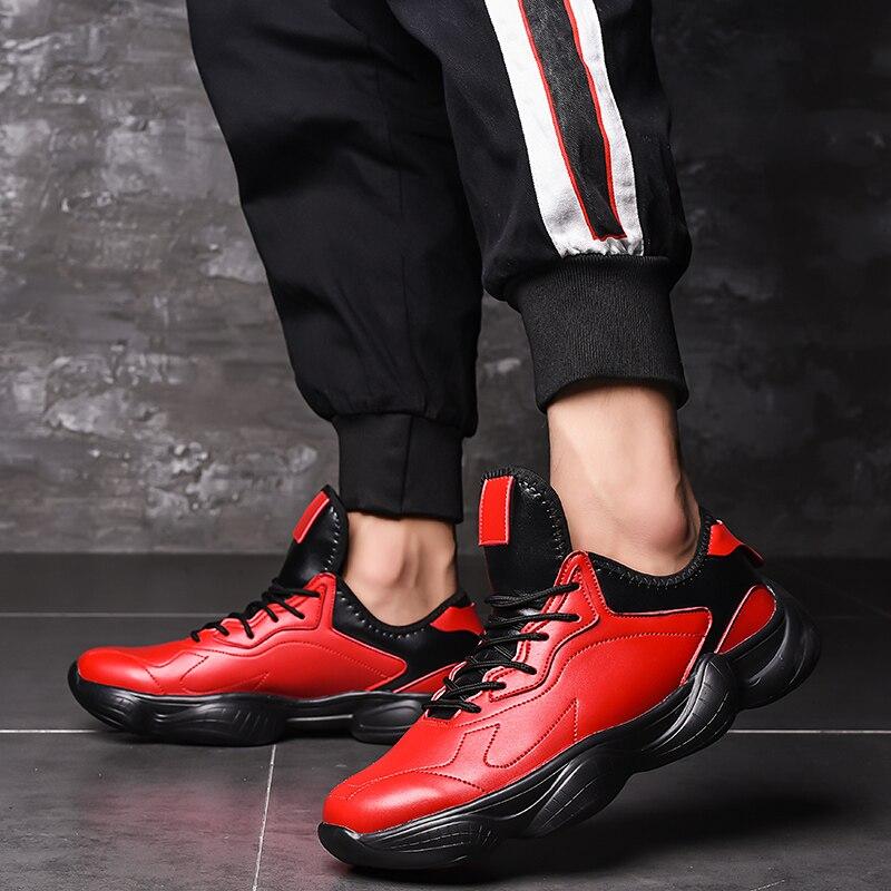2018 Alle Jahreszeiten Männer Vulkanisierte Schuhe Non-slip Schwarz Rot Weiß Pu Leder Schuhe Leichte Wasserdichte Gummi Sohle Schuhe üPpiges Design