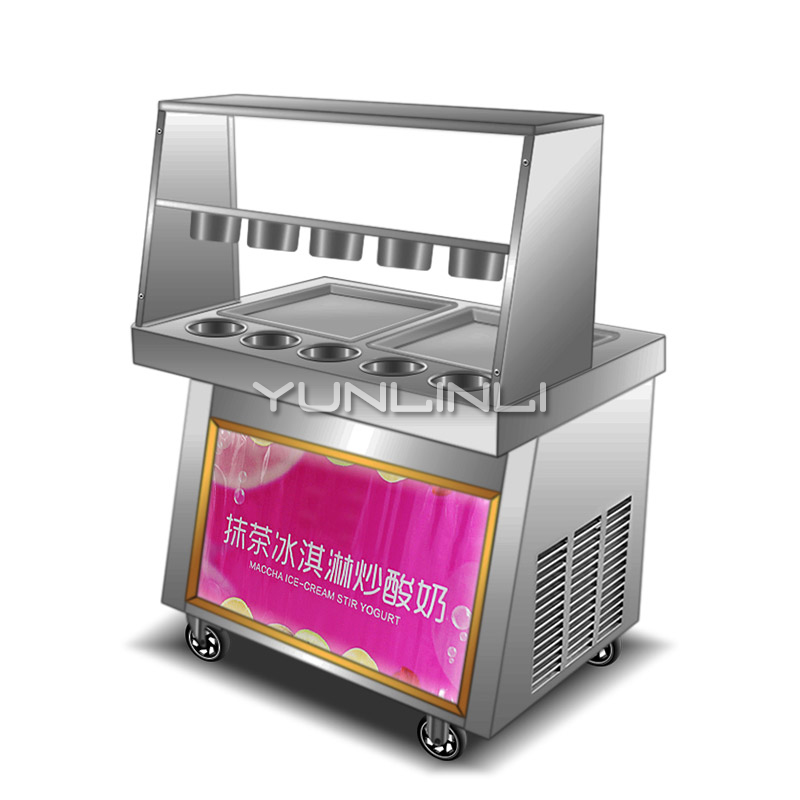 Fried ice cream machine commercial matcha Frying ice cream rolls Maker automatic stir-fried yogurt machine ce fried ice cream machine stainless steel fried ice machine single round pan ice pan machine thai ice cream roll machine