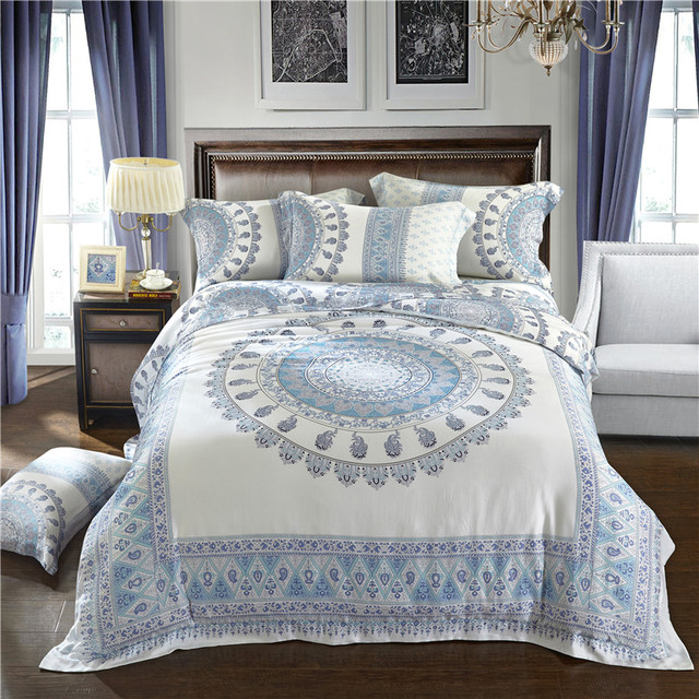 Super Soft 60S Tencel Silk Lolita Royal Bedding Sets King/Queen Size White  Bohemia Bed