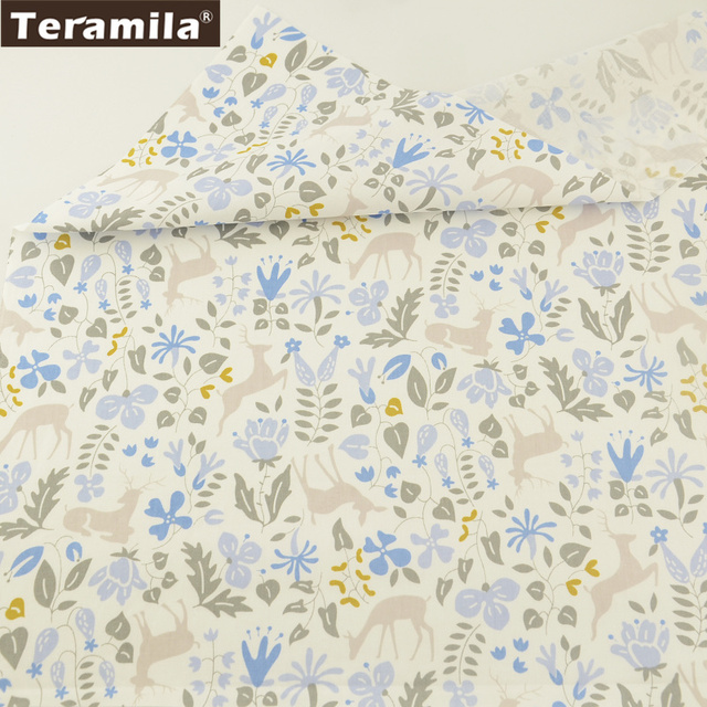 Teramila Fabric Soft Printed Blue Plants With Animals Designs 100% Cotton Material Bed Sheet DIY Bedding Sewing Curtains Dress