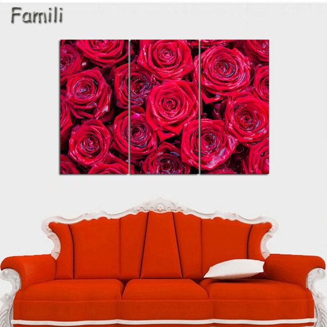 Red rose canvas painting 3 piece wall art picture for wall decor canvas prints wall paintings