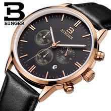 BINGER montres hommes marque de luxe Quartz montre étanche véritable bracelet en cuir or Chronographe Montres BG9201-9