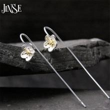 JINSE 925 Sterling Silver 8.7mm Plum Flower Long Drop Earrings For Women Vintage Lady Prevent Allergy Sterling-Silver-Jewelry