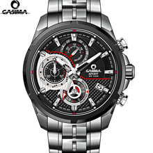Casima LUXURY Men Business Top Brand Silver Steel Quartz-Watch Chronograph Luminous Date Clock Men's Fashion Casual Wristwatch