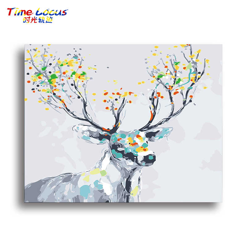Colorful Deer Animals Pictures By Numbers Canvas Oil Painting Home Decor Wall Art Hand Painted Artwork Unique Gift Living Room