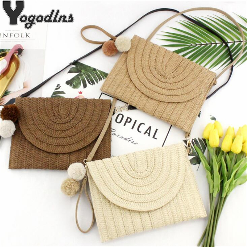 Summer Beach Straw Clutch Bag Cute Ball Pendant Crossbody Bag For Women Travel Shoulder Bags Purse Ladies Casual Bags 2019 New