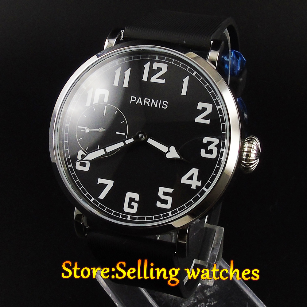 46mm parnis luminous black dial 6497 hand winding rubber strap mens watch46mm parnis luminous black dial 6497 hand winding rubber strap mens watch