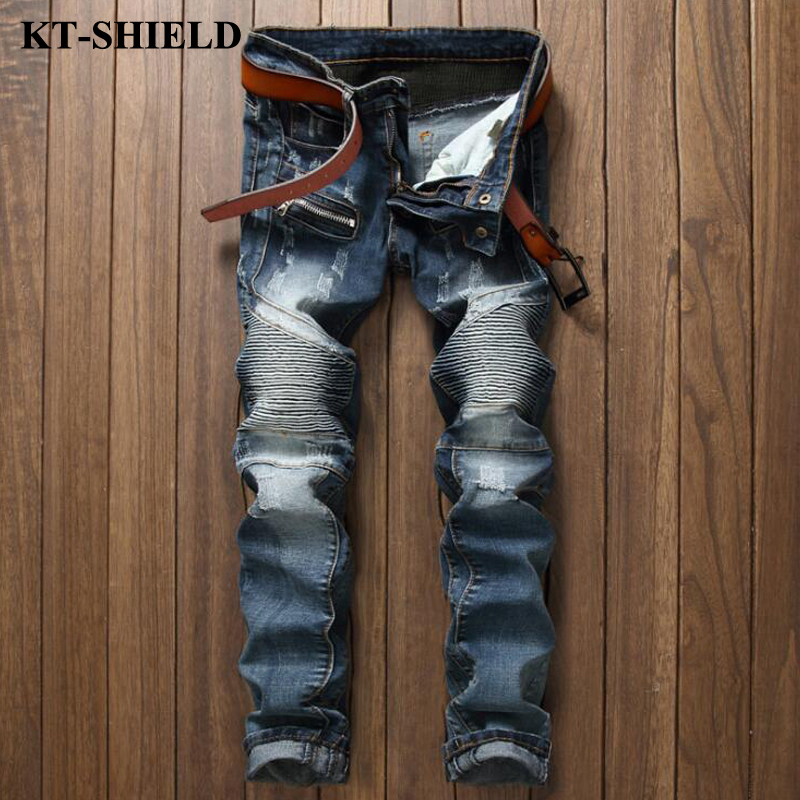Brand Designer Men Jeans Fashion 2017 New Blue Ripped Denim Trousers Masculina Cotton Slim fit Mens