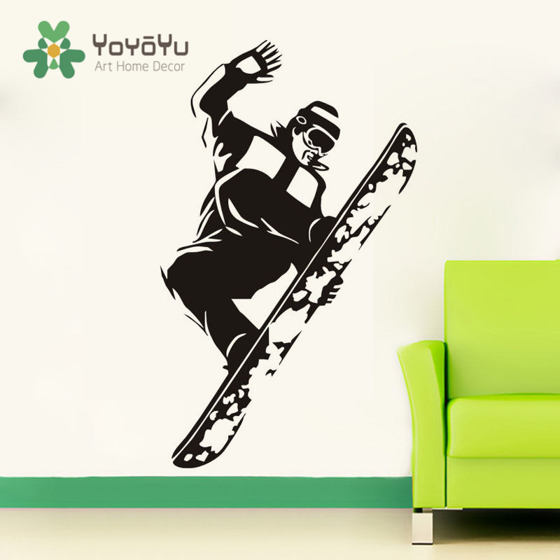Abnehmbare Springen Snowboard Wandtattoo Sporting Junge Kunst Wandbild Kinderzimmer  Dekoration Aufkleber Sport Ski Wandtattoo NY 2