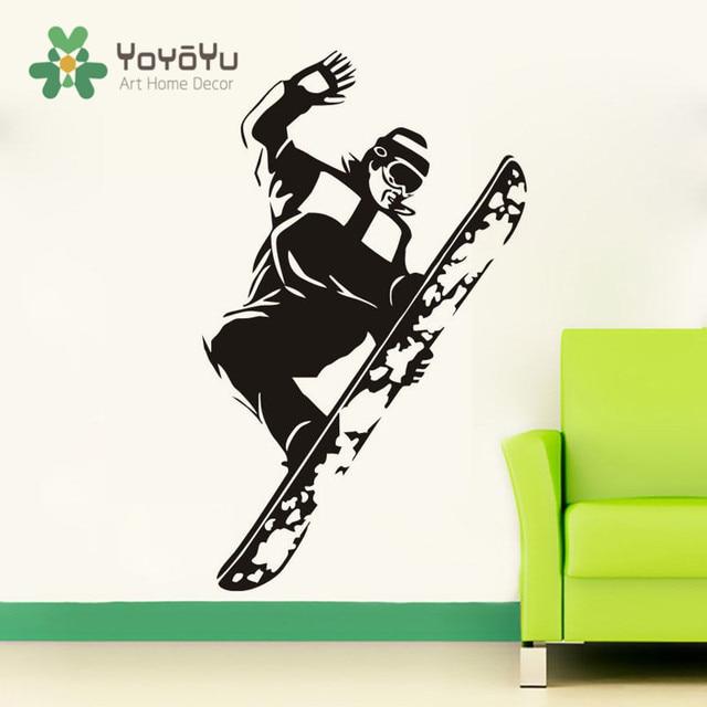 US $7.36 20% OFF|Abnehmbare Springen Snowboard Wandtattoo Sporting Junge  Kunst Wandbild Kinderzimmer Dekoration Aufkleber Sport Ski Wandtattoo NY 2  in ...