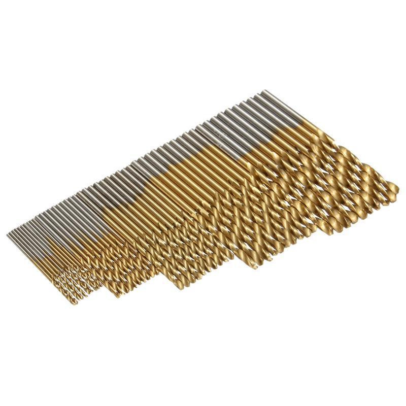 PEGASI 50PCS 4Sizes Mini Micro Round Shank Drill Bits Set Small Precision HSS Twist Drills For Angle Iron Wood Woodworking in Drill Bits from Tools