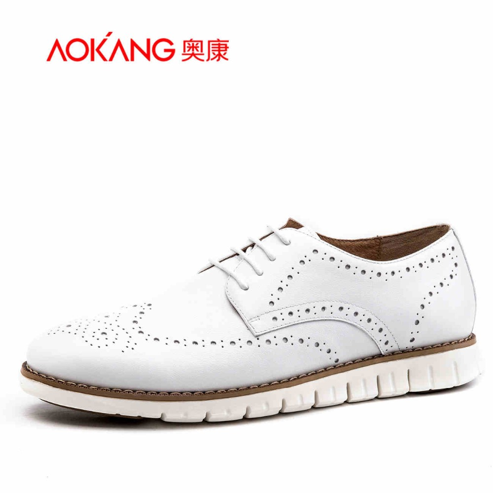 Aokang 2017 New Arrival  Genuine Leather shoes Brogues Shoes Light shoes Fashion  free shipping aokang 2017 new arrival women flat genuine leather shoes red pink white women shoes breathable and soft free shipping