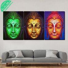 купить!  3 Шт. Три Цвета Буддизм Современные Wall Art Холст Картины Плакаты и Принты Обрамленная