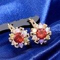 Nuevo Lujo Circón AAA CZ Pendiente Del estilo de Corea Moda Pendientes de Aro de Oro de Flores de Cristal Pendientes de la joyería de Regalo de Bodas