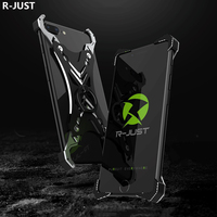 R JUST For IPhone 8 Case Cover Luxury Hard Metal Aluminum Shockproof Ring Holder Armor Phone